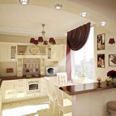 Дизайн проект классической кухни 9 - 12 кв. метров , от дизайнеров компании НОВЫЙ КРЫМ - new.crimea.com